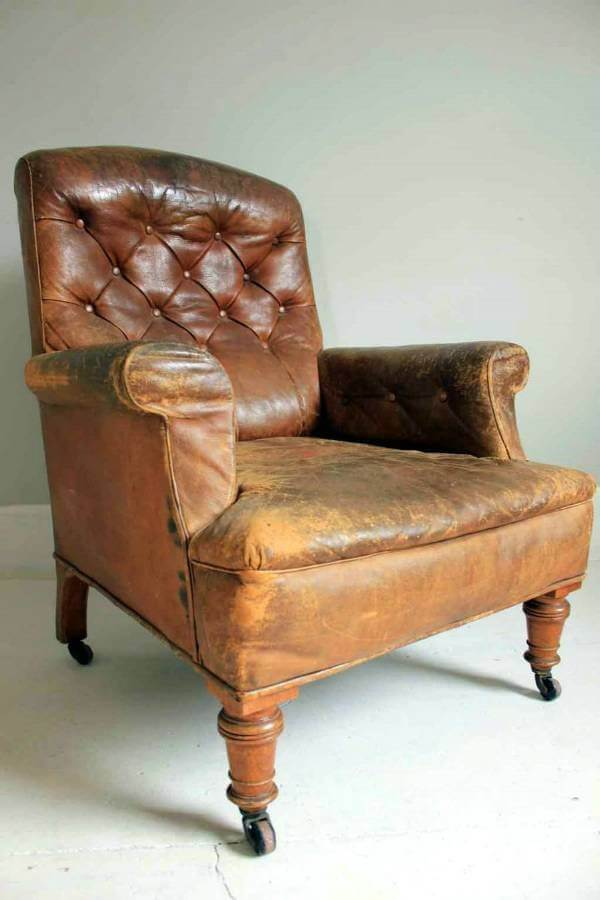 19Th Century Gentlemans Leather Library Chair