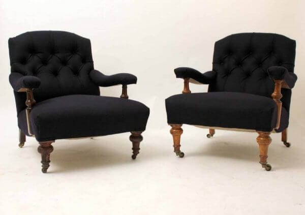 Near Pair of 19th Century Gentleman Club Chairs
