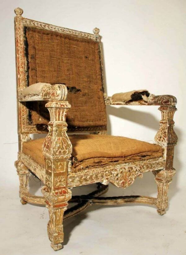 18Th Century Carved And Gilded Armchair