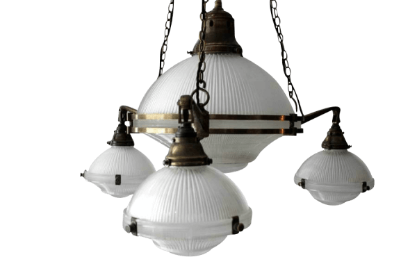 A Pair Of Early 20Th Century Holophane Chandelier