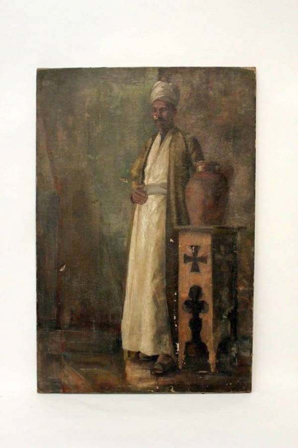 19Th Century Oil On Canvas Arab Merchant