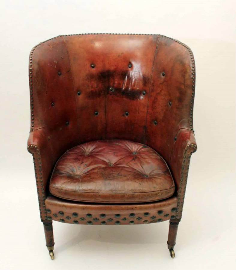 A George III Leather Library Chair