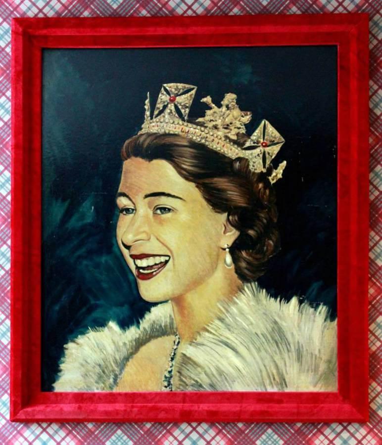 20Th Century Oil On Board H.R.H. Queen Elizabeth