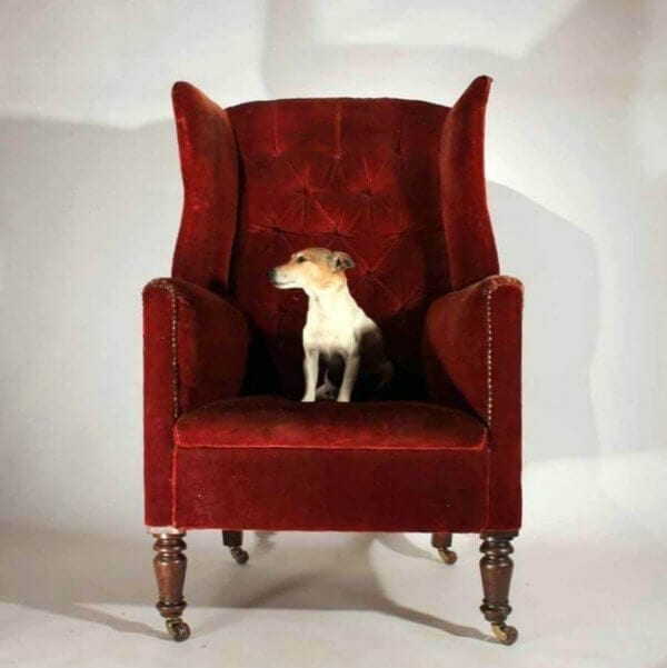 19Th Century Red Velvet Wingchair