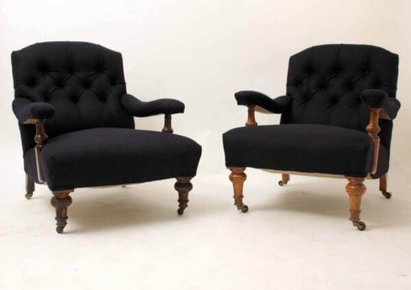 Near Pair of 19th Century Gentleman Club Chairs