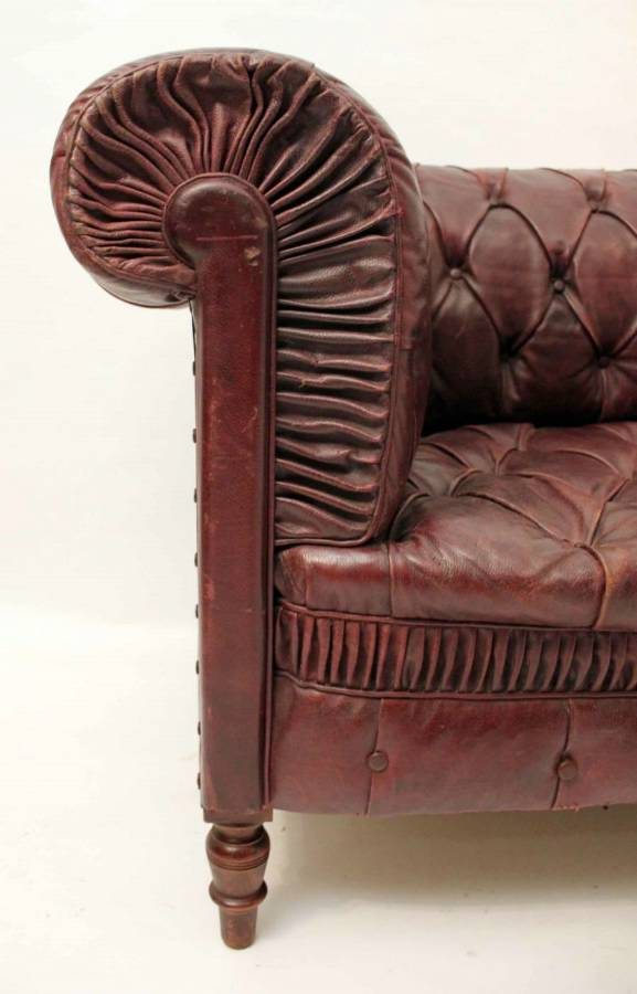 19TH Century Red Leather Chesterfield Sofa