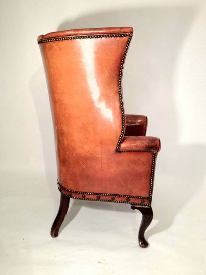 19th Century Leather Porters Chair